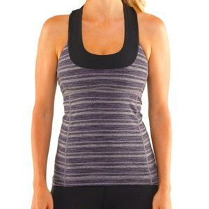 Lululemon Grey Striped Scoop Neck Tank